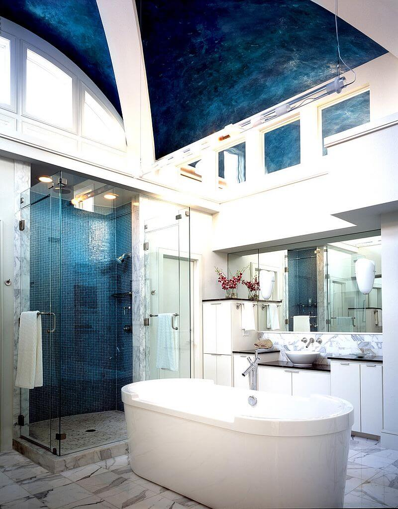 10 blue eclectic bathroom design ideas https for Carrelage salle de bain bleu