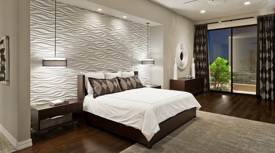 12 accent wall ideas to pop up in the bedroom https for Textured wallpaper accent wall
