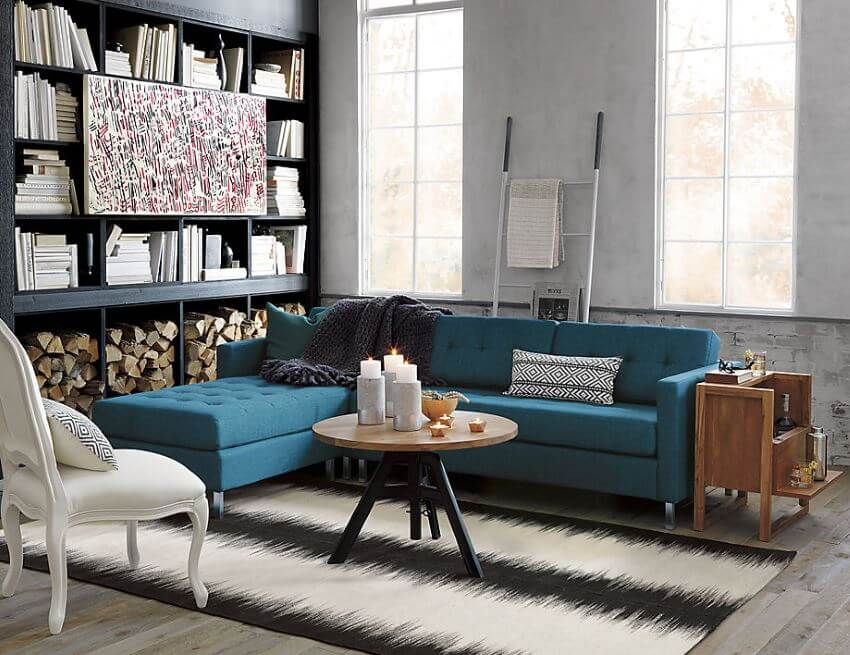 Tufted Peacock Blue Sectional Sofa