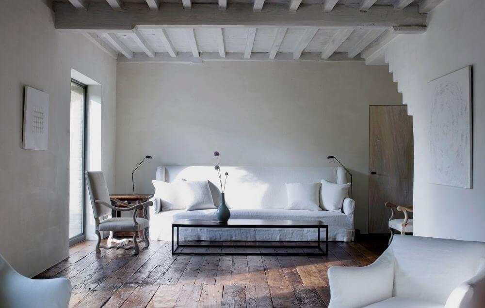 All White Shabby Chic Living Room