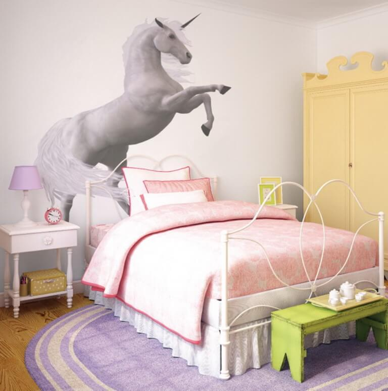 Amazing Girly Bedroom with Unicorn Mural