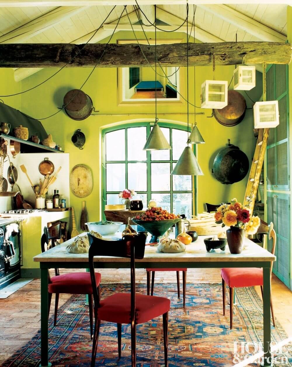 Colorful Vintage Farmhouse Kitchen