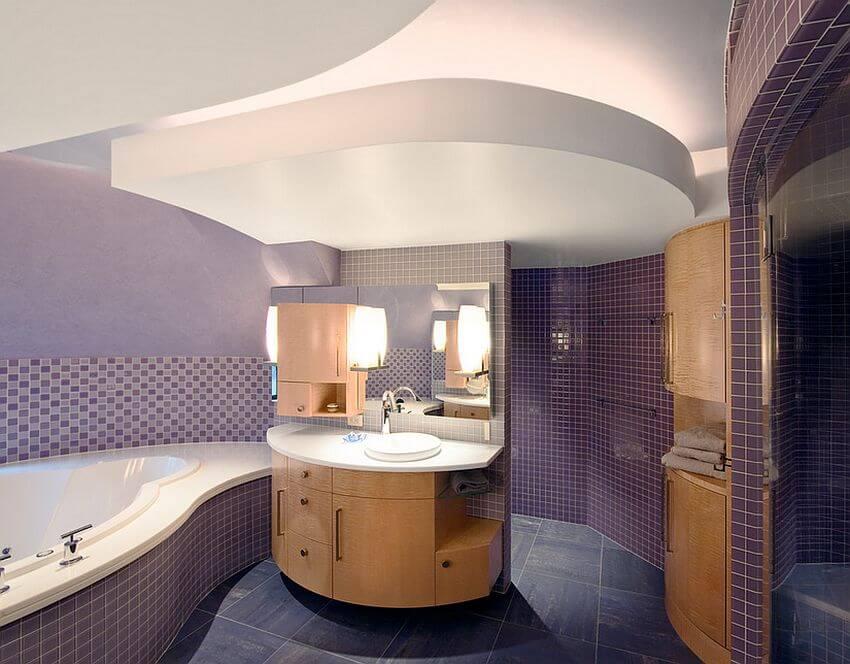 Contemporary Purple Bathroom