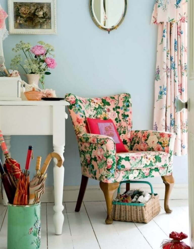 Floral Patterned Accent Chair