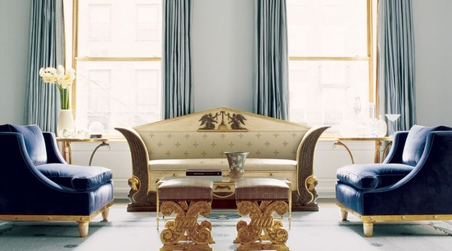 Gold and Brown Ottoman