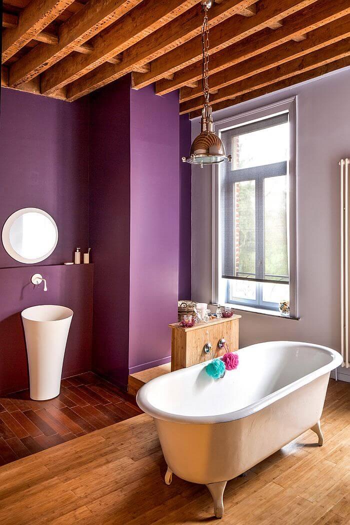Tall Purple Bathroom