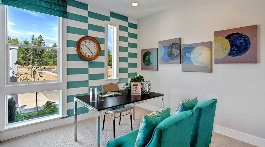 Turqouise Striped Accent Wall