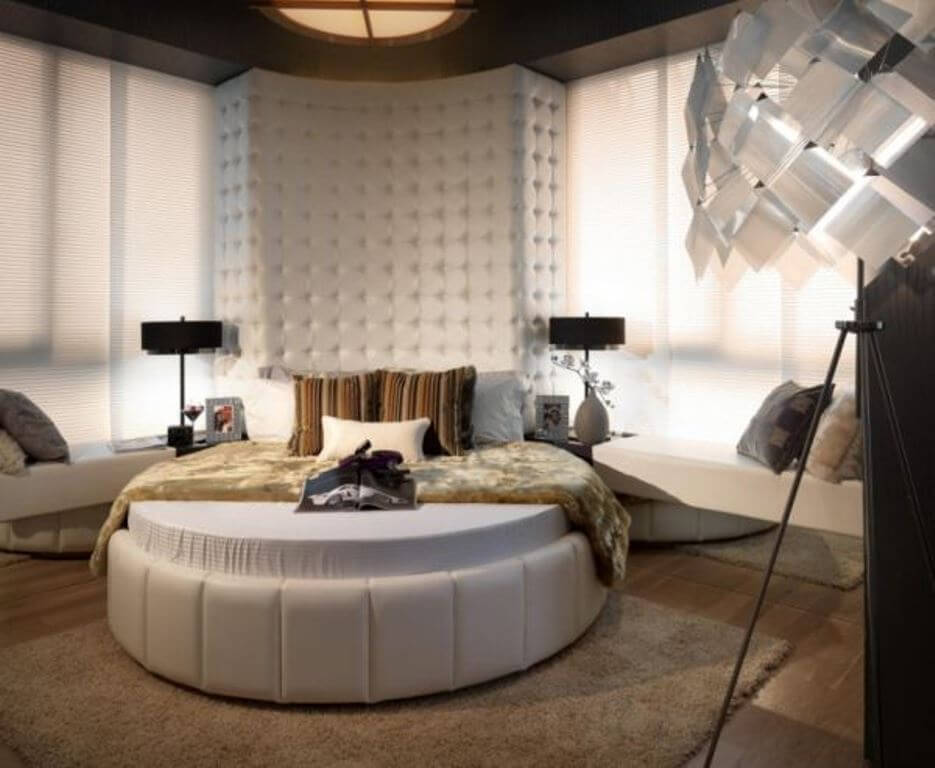 White Leather Round Bed