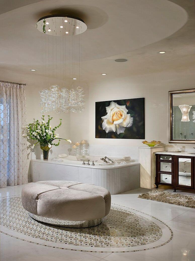 Beautiful-cascading-chandelier in contemporary-bathroom