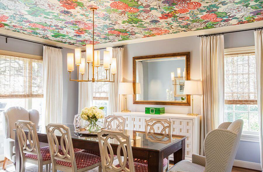 Bold Floral Ceiling Wallpaper
