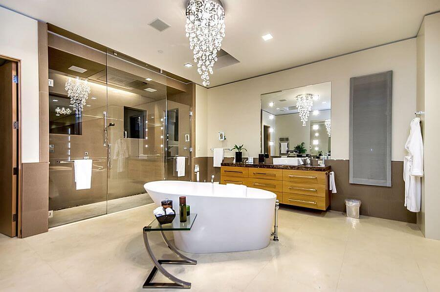 Cascading-chandelier in stylish bathroom