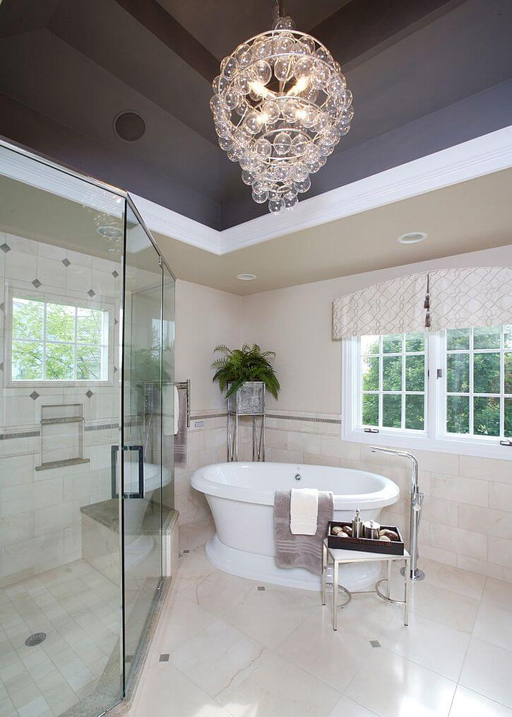 Contemporary Bathroom with Chandelier