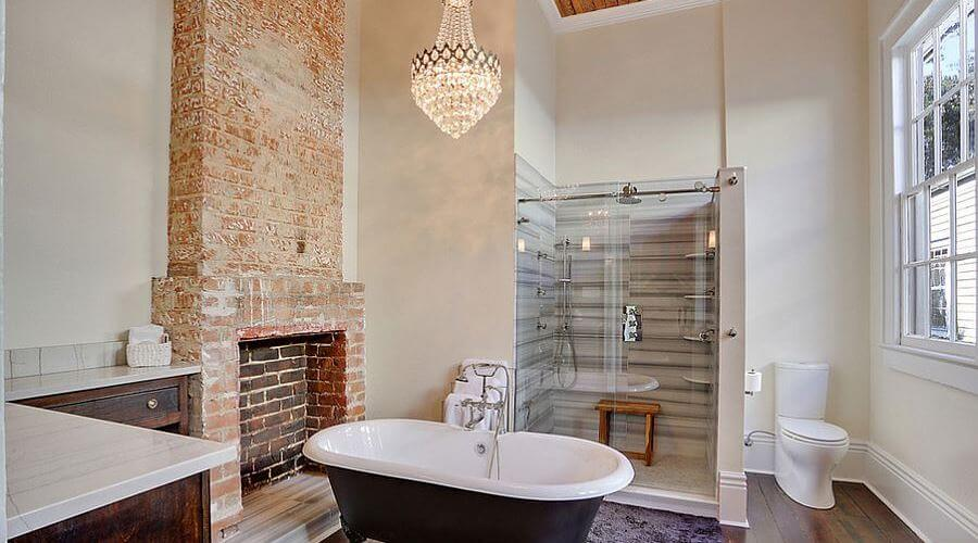 Cool Bathroom with Chic Chandelier