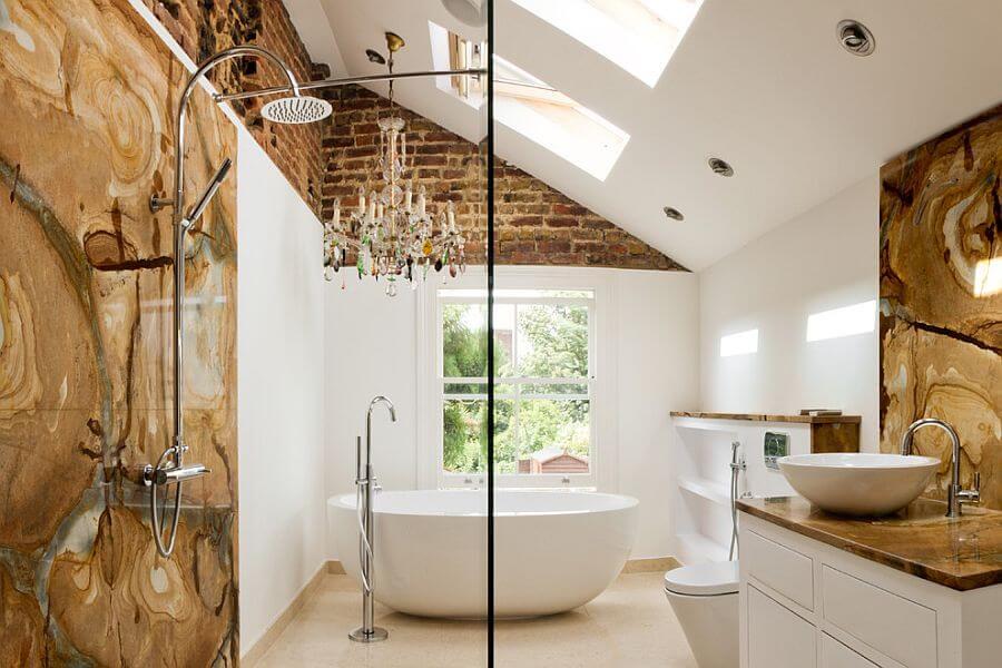Eclectic-bathroom- with unique chandelier