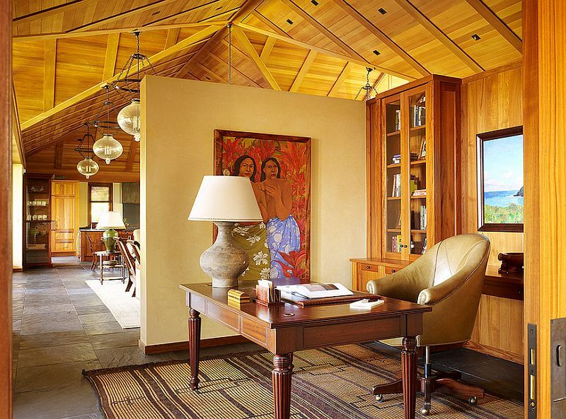 Exotic Home Office with Wooden Panel