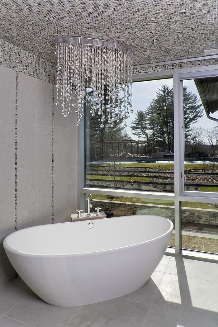 Luxurious Chgandelier In VIbrant Bathroom