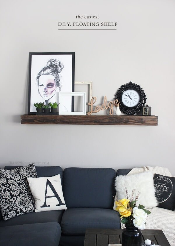 Rustic Floating Shelves for the Living Room