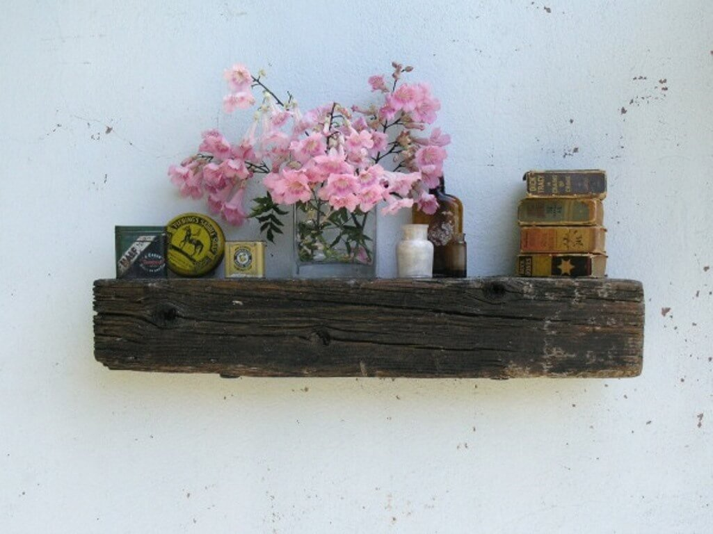 Rustic Wood Floating Shelves for the Living Room