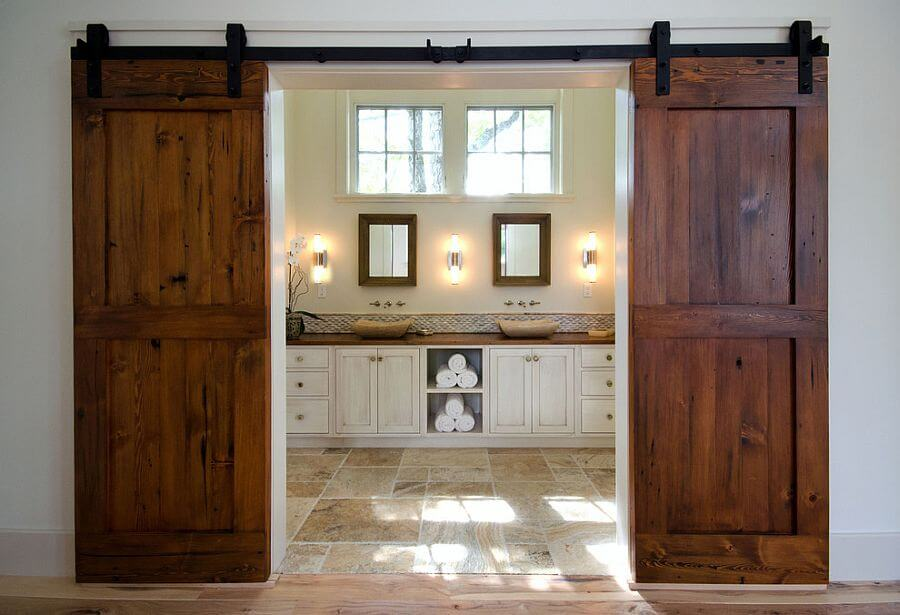 8 Rustic Bathroom Designs with Sliding Barn Doors ...