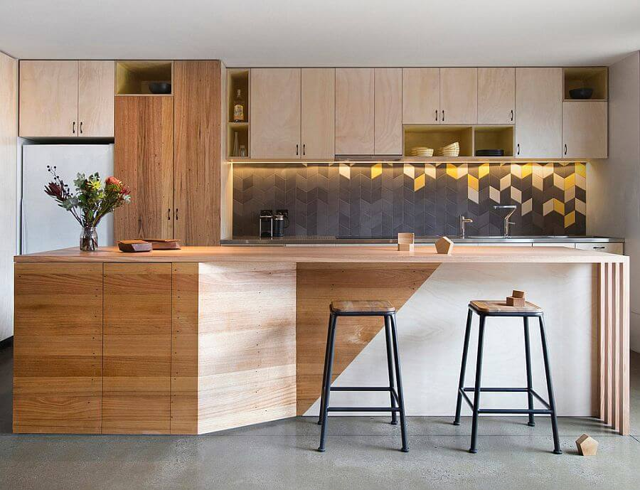 Contemporary Gray and Yellow Kitchen