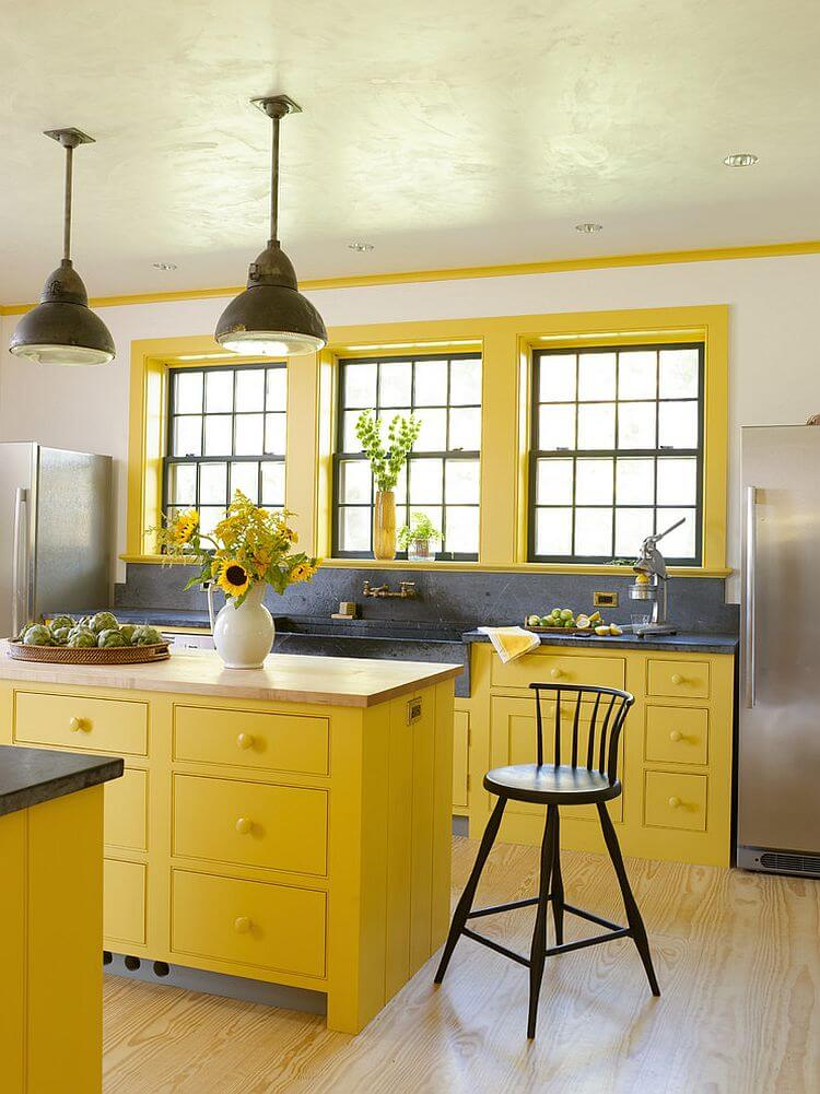 Country Gray and Yellow Kitchen