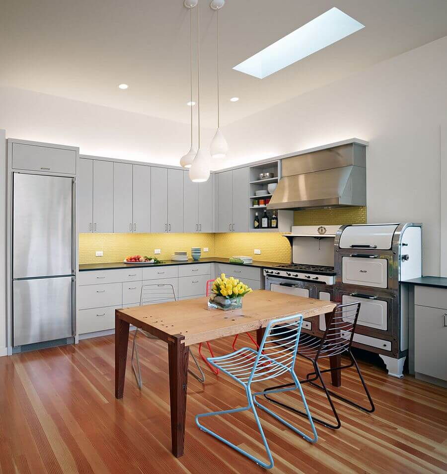 Eckectic Gray and Yellow Kitchen