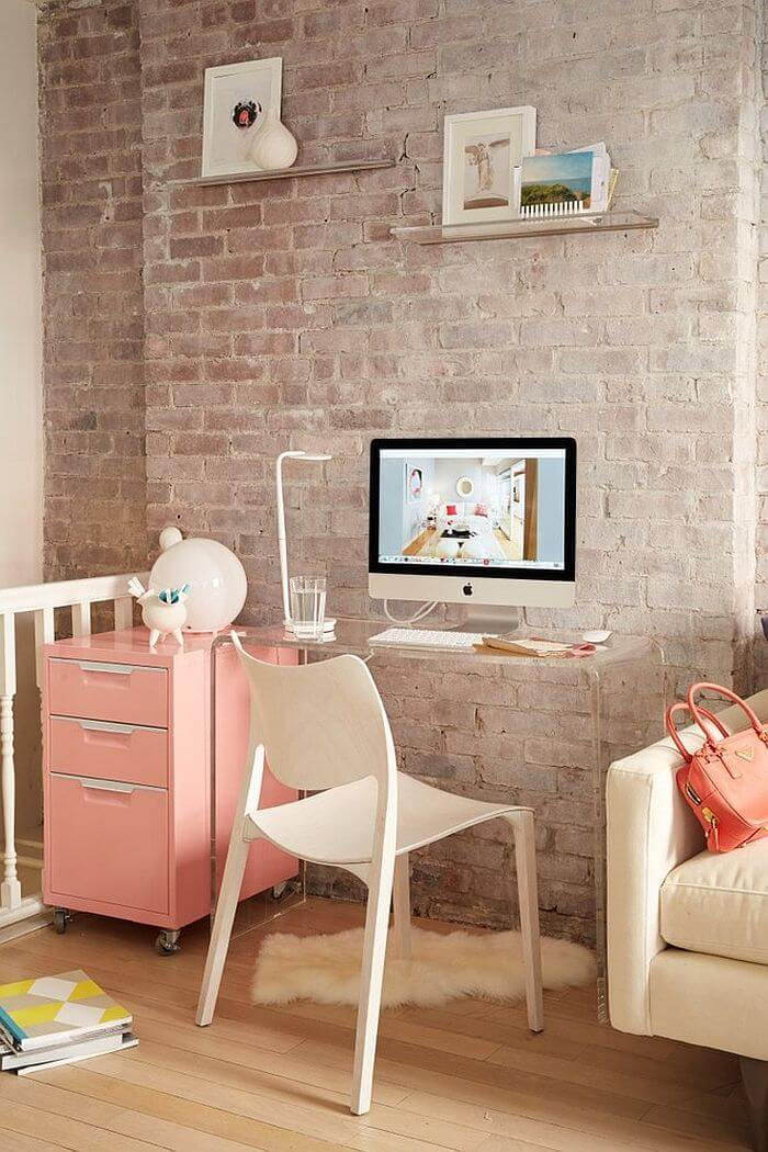 Feminine Home Office With Brick Walls