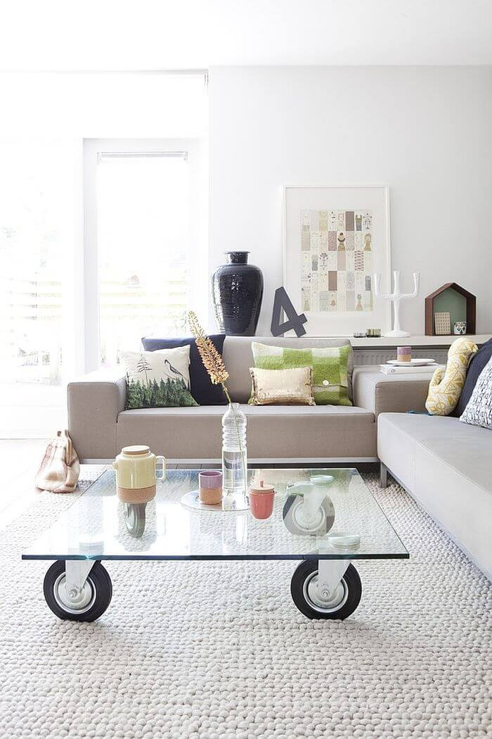 Glass Coffee Table on Wheels