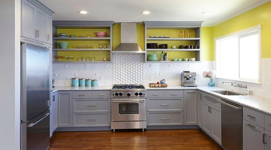 Grey yellow kitchen crowdbuild for for Grey yellow kitchen ideas