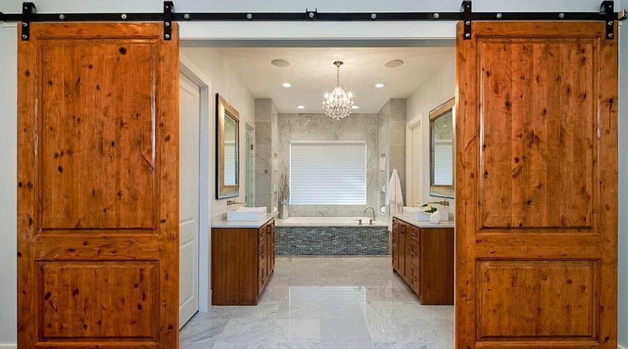 Master bathroom with Barn Doors