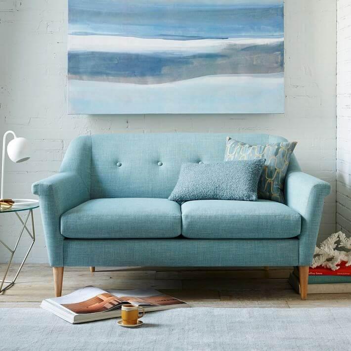 Minty blue Mid Century Sofa
