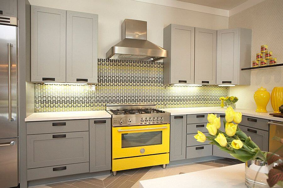 STylish Gray and Yellow Kitchen