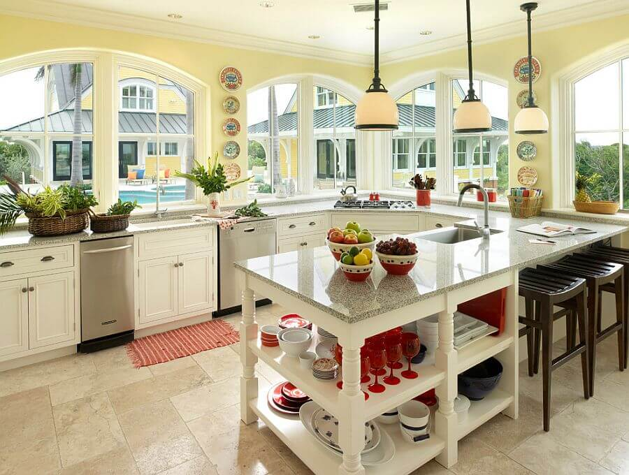 Spacious Gray and Yellow Kitchen