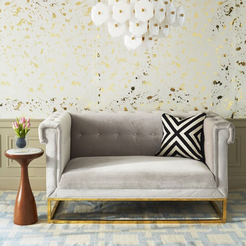 Tuffted Velvet Gray Sofa