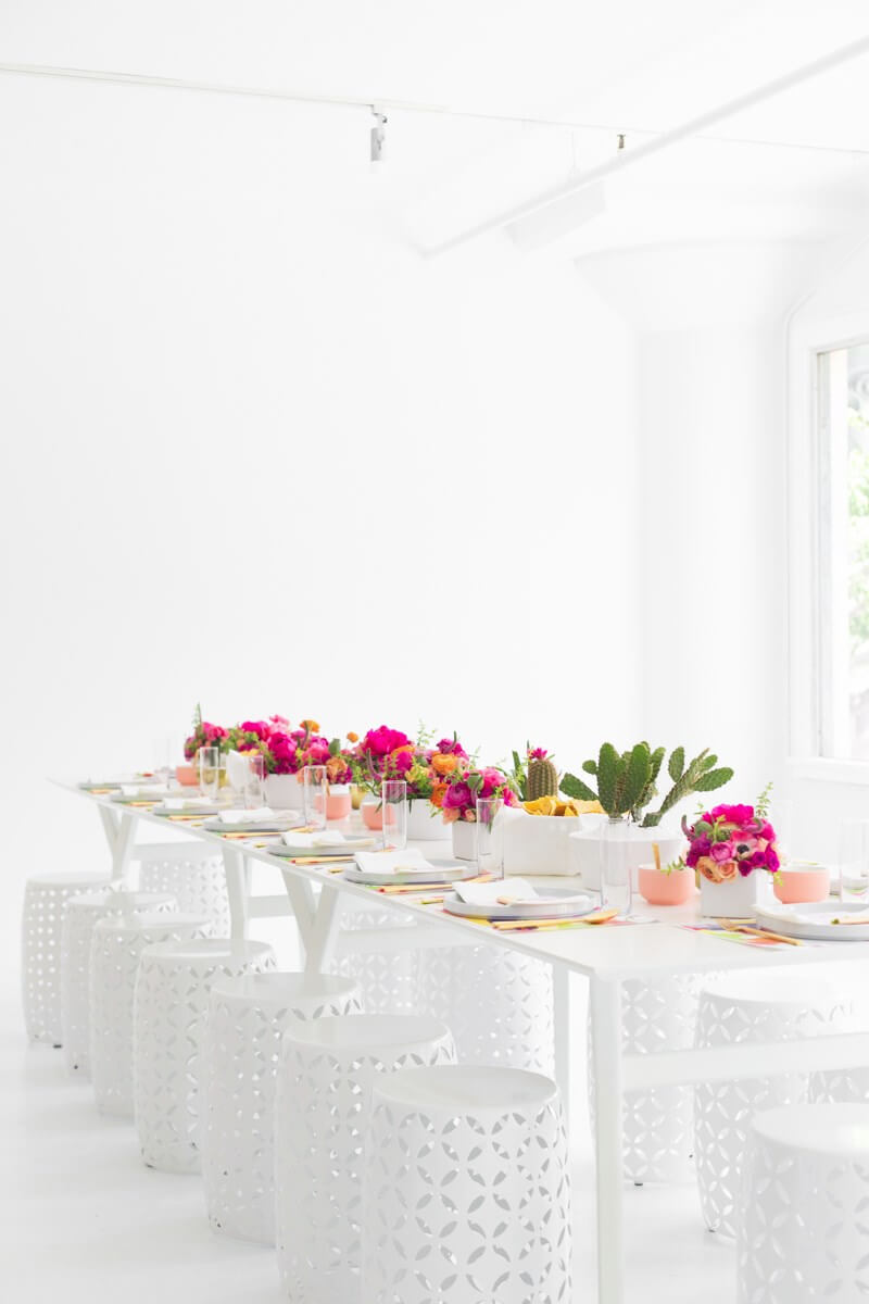 White Backless Dining Stools