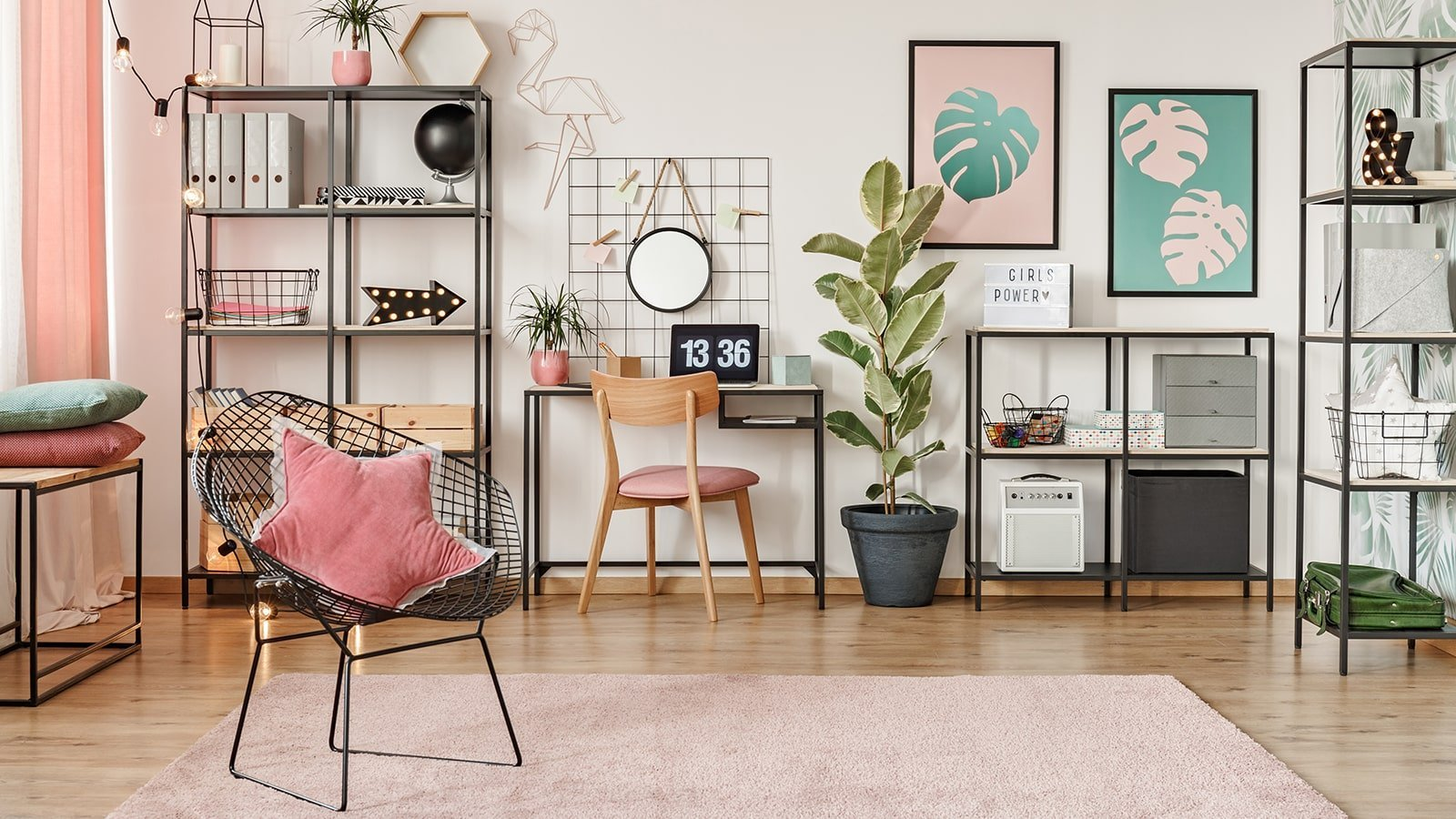 Feminine and pink home office