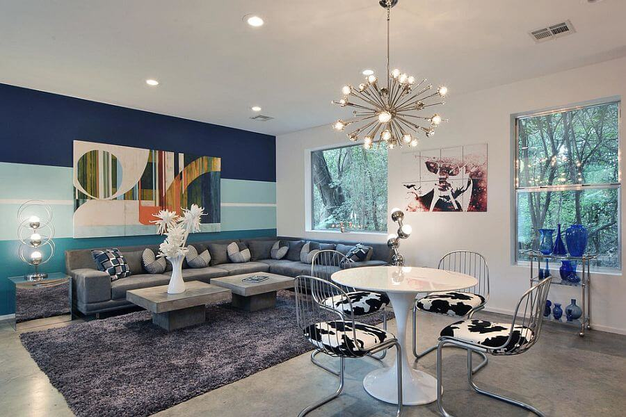 Stylish Living Room with Blue Striped Wall