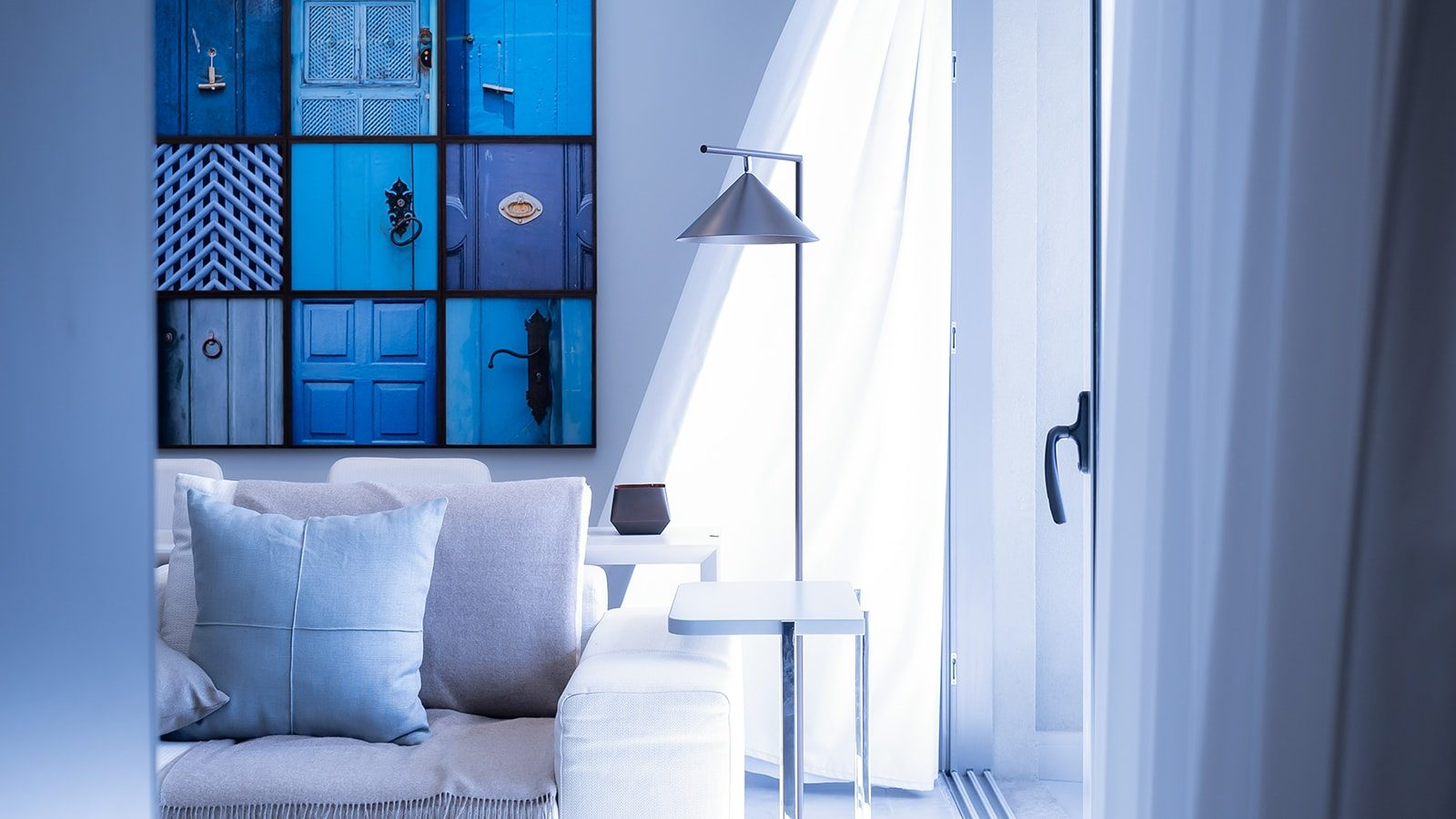 A blue renovated living room