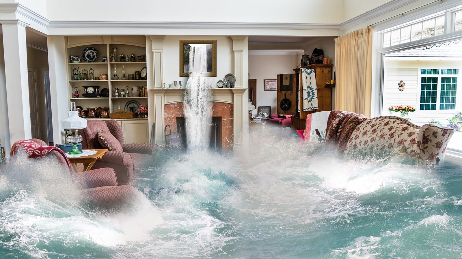 House being flooded