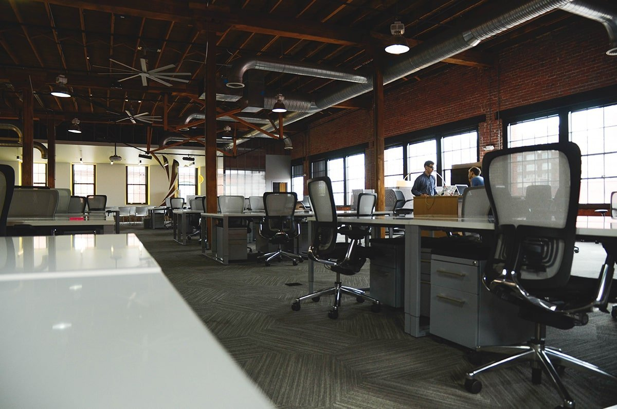 Office with HVAC ventilation on ceiling