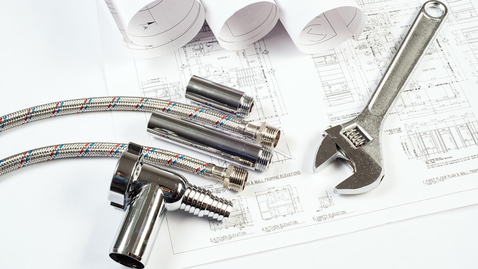 Plumbing diagrams, tools and pipes