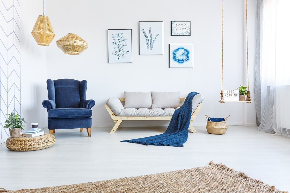 Reorganized living room with blue color scheme