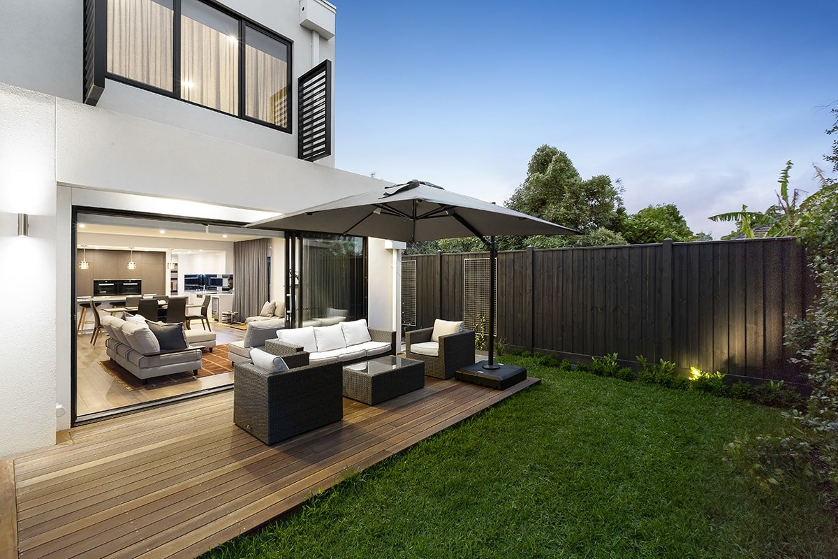 Backyard deck with lounge area