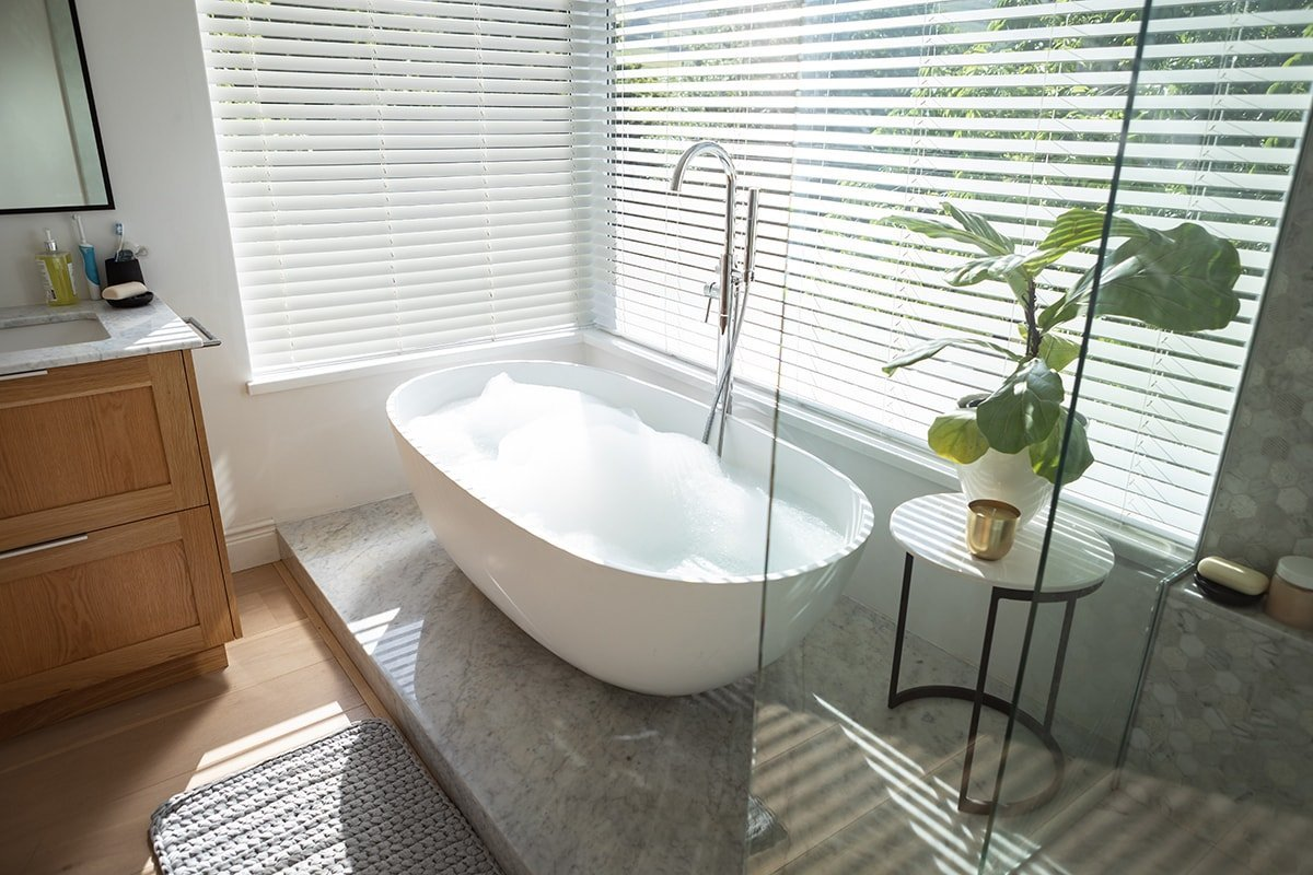 Bath tub with green plant and bright windows