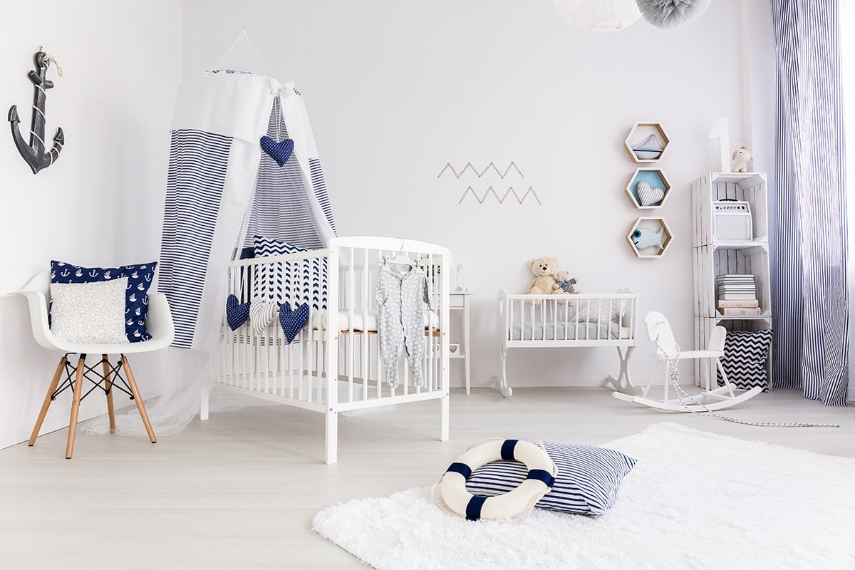 Beautifully organized child's room in a nautical theme