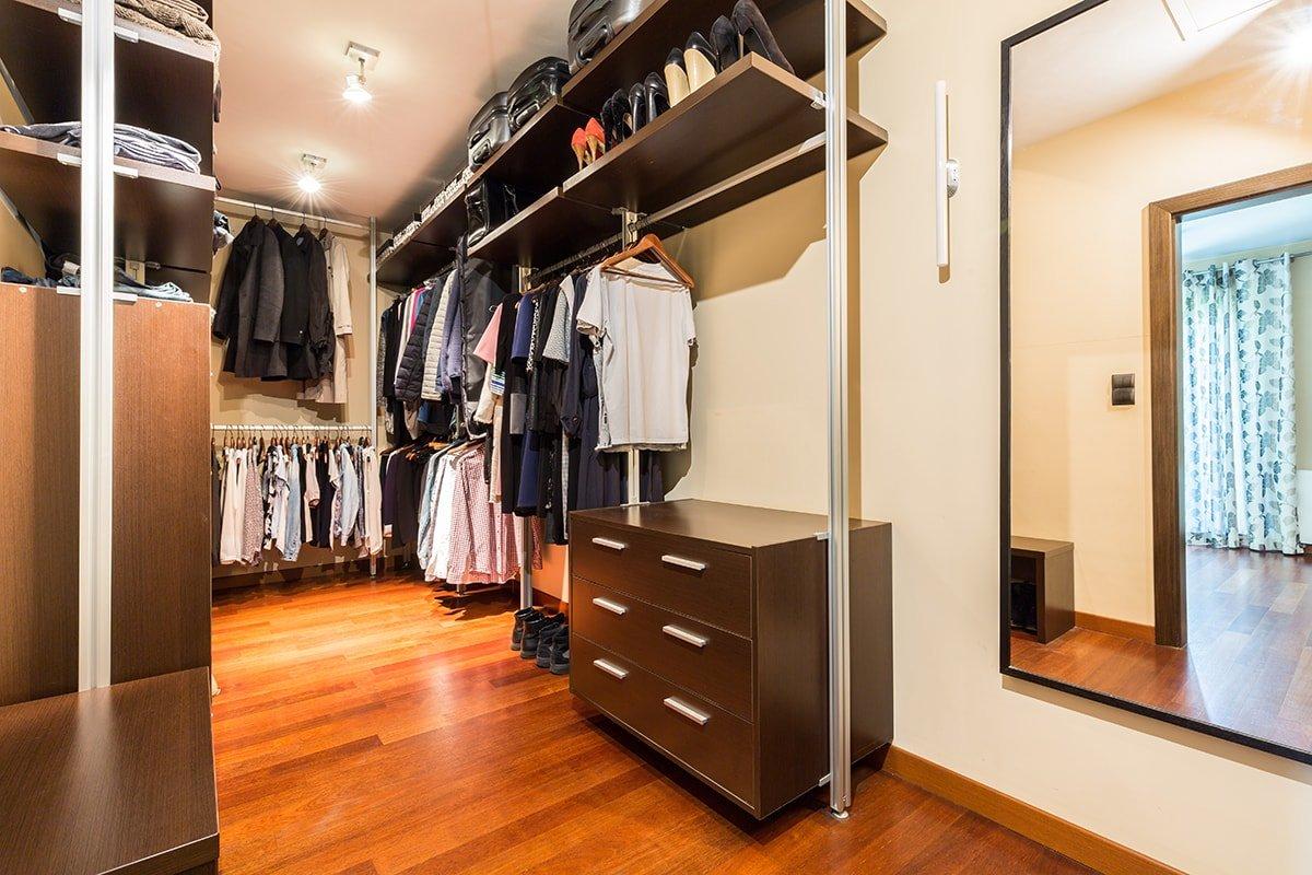 Walk in closet with DIY Shelves