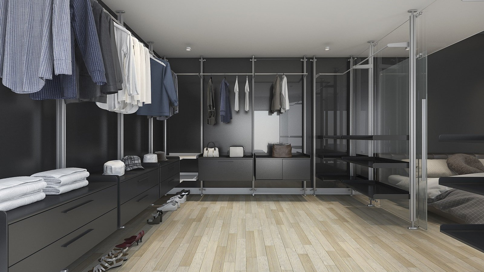 Dark modern walk-in closet