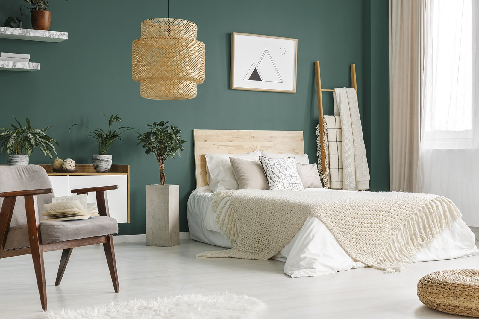 Green themed bedroom interior