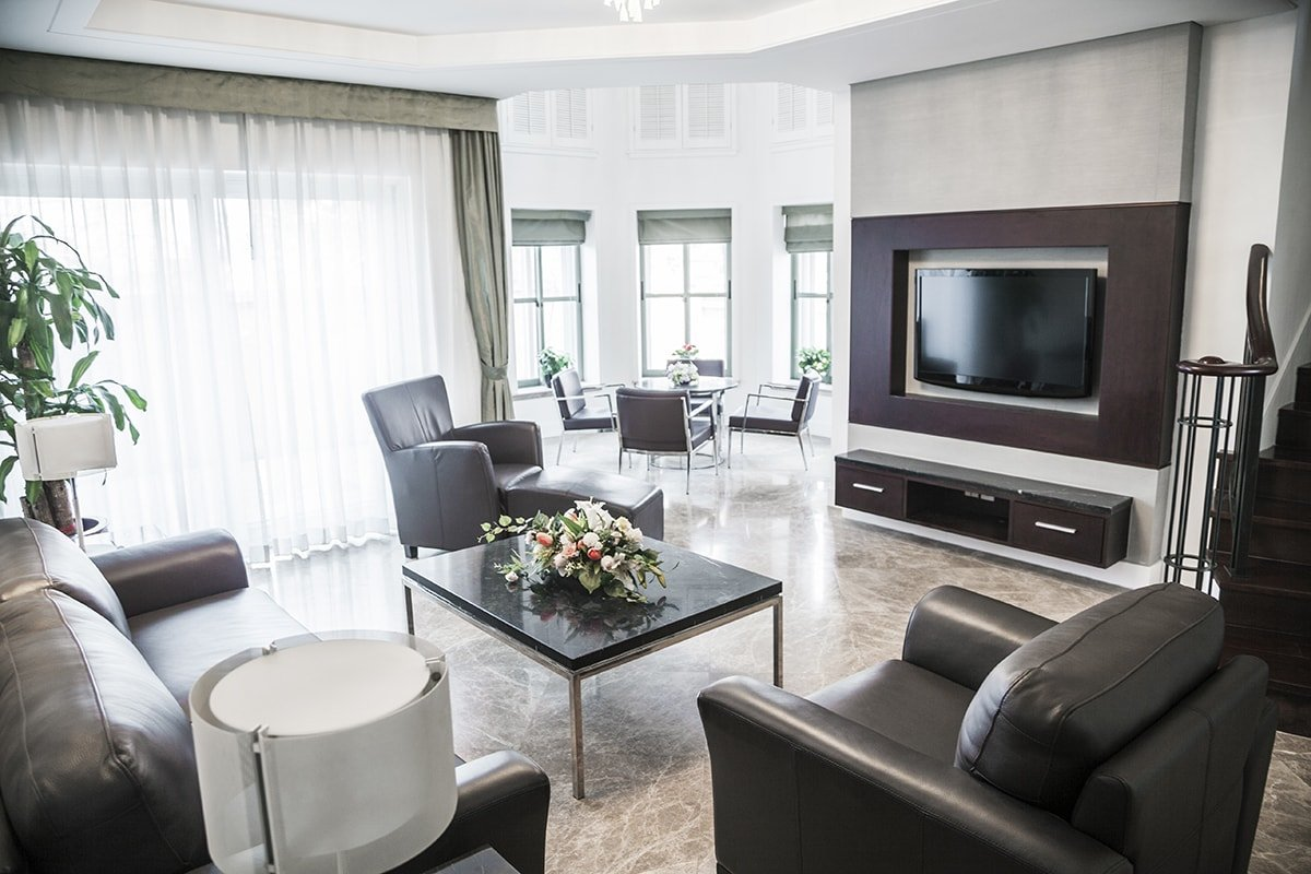 Modern living room with television