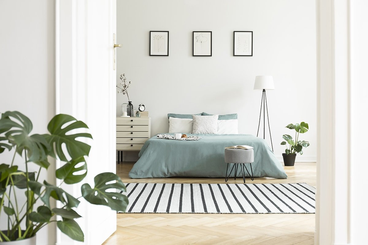 Bright bedroom with posters and green plants